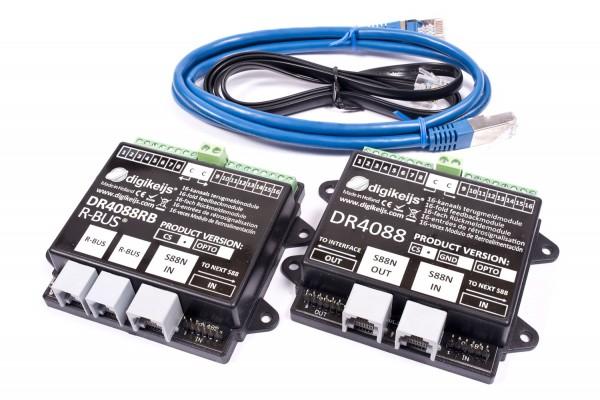 Digikeijs DR4088RB-CS Set - 16x R-Bus-Rückmelder + 16x S88N-Rückmelder