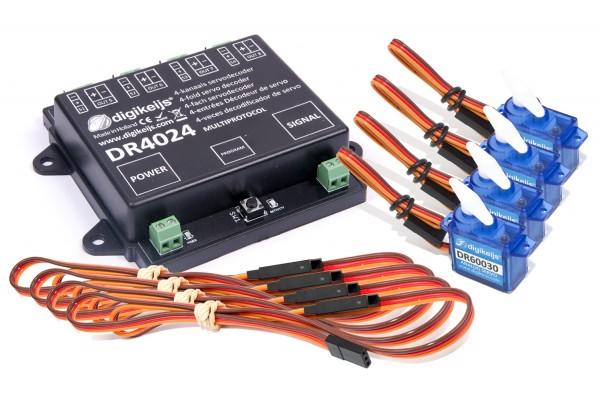 Digikeijs DR4024 Startset - 4x Servodecoder mit 4 Servos + 4 Servoverlängerungen